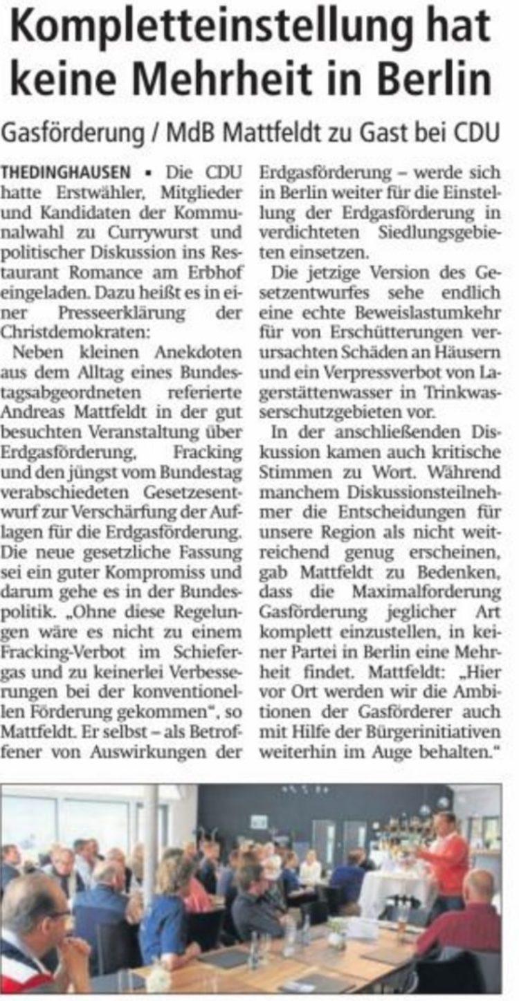 Mattfeldt zu Gast bei der CDU Thedinghausen