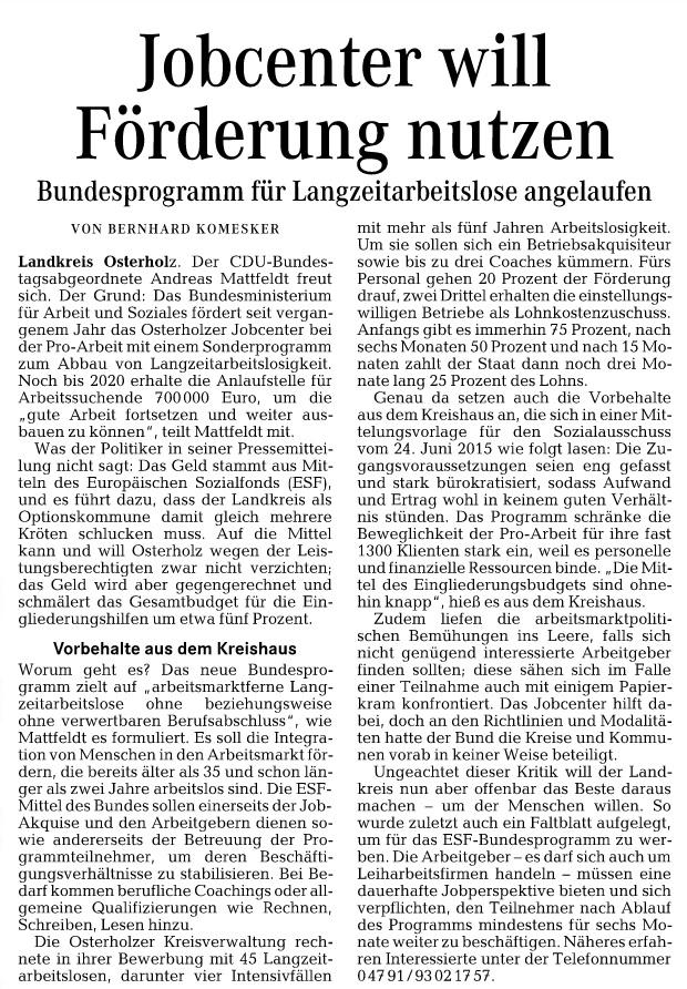 HP Wümme Zeitung 03.05 Mattfeldt Jobcenter Förderung