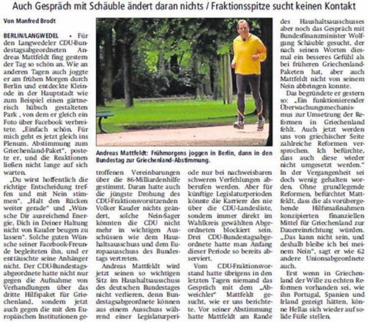 Mattfeldt bleibt Hellas-Abweichler