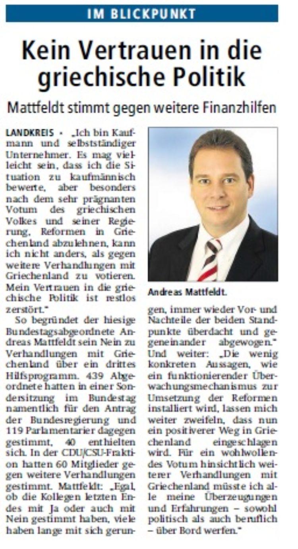 Kreiszeitung vom 18.07.2015