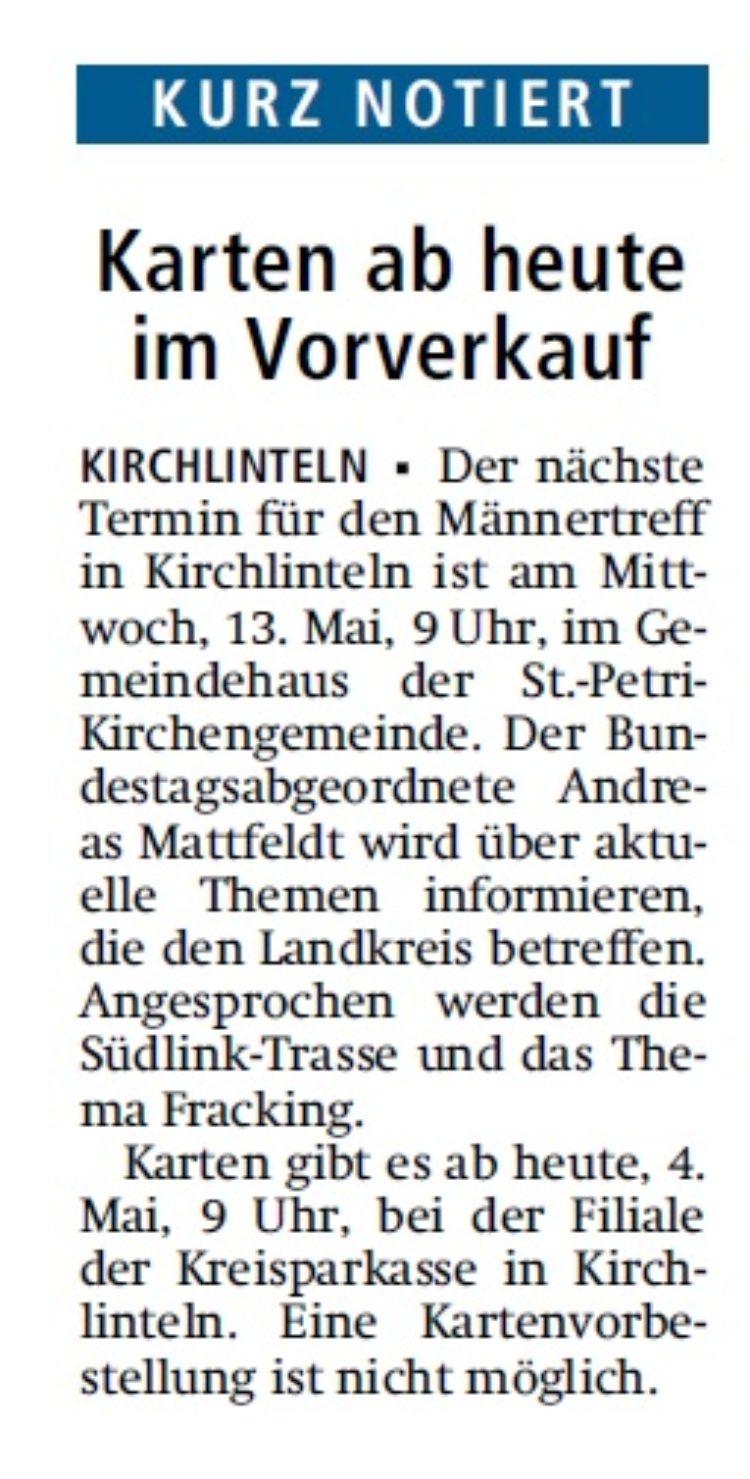 Kreiszeitung vom 4. Mai 2015