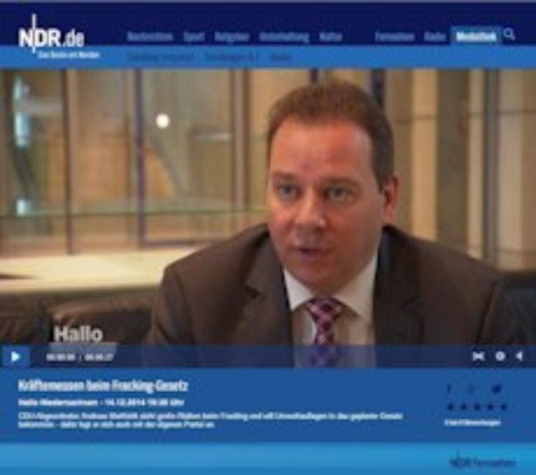 NDR-Bericht über meinen Einsatz für eine sichere Erdgasförderung