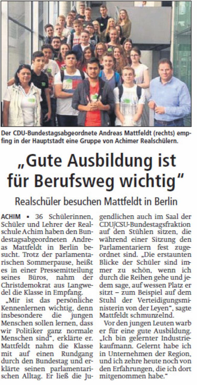 Schüler zu Gast in Berlin