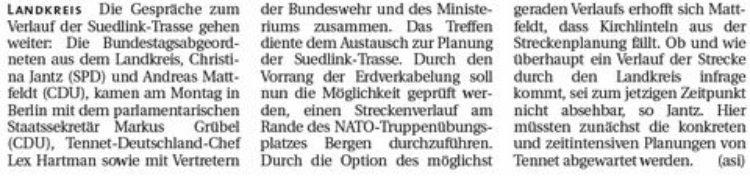 Gespräche über Suedlink-Trasse