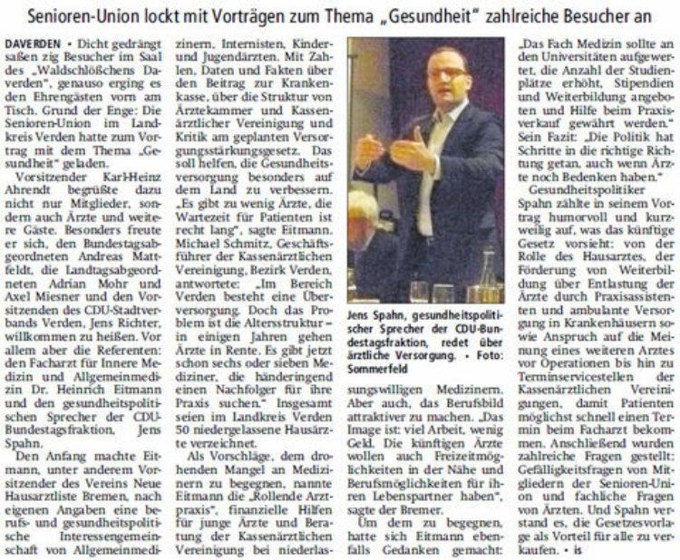 Jens Spahn beim vorabendlichen politischen Aschermittwoch am 28. Februar in Verden