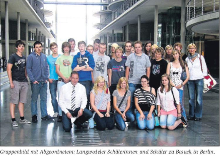 Schüler aus Langwedel im Bundestag