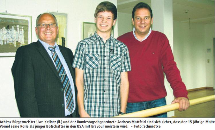 """15-jähriger Achimer """"Botschafter"""" in den USA"""