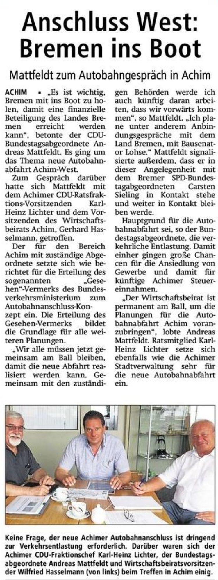 neue Autobahnabfahrt Achim-West