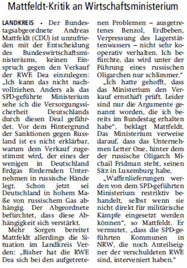 RWE-Dea: Entscheidung nicht nachvollziehbar
