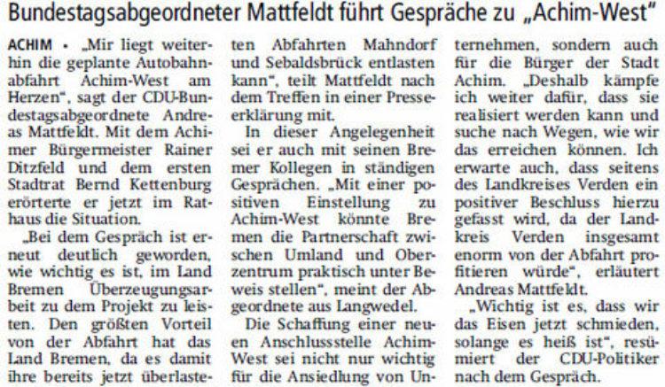"""""""Auch Bremen und Kreis profitieren""""   """""""