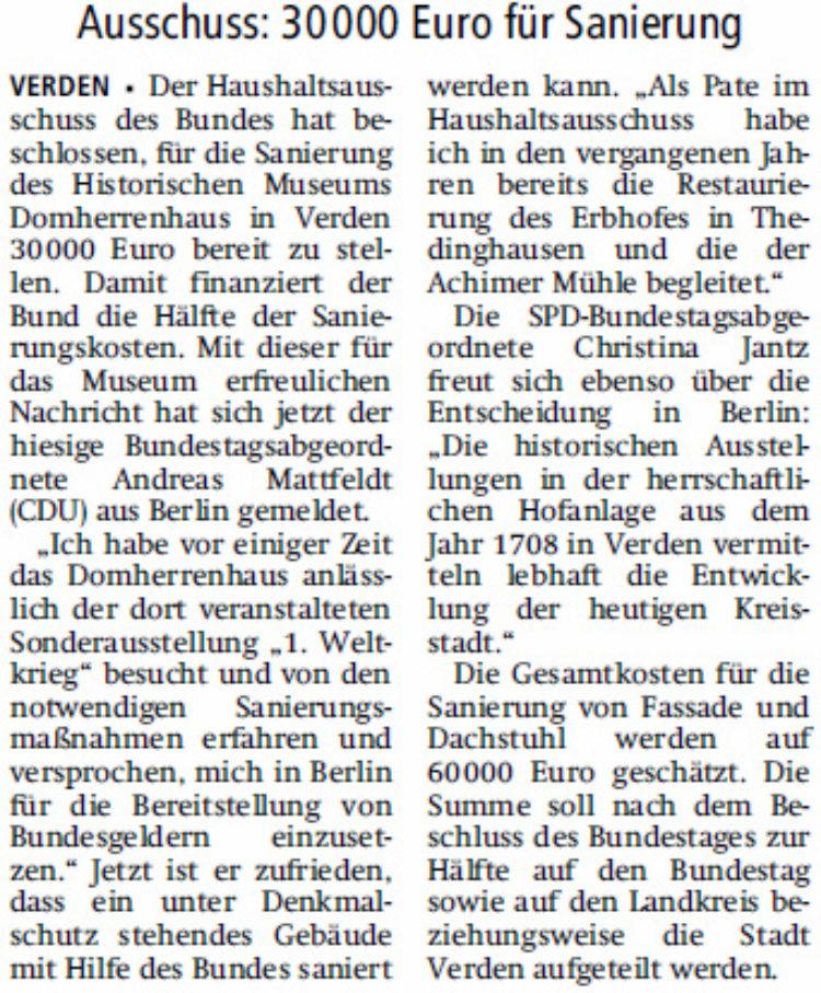 Domherrenhaus: Geld vom Bund