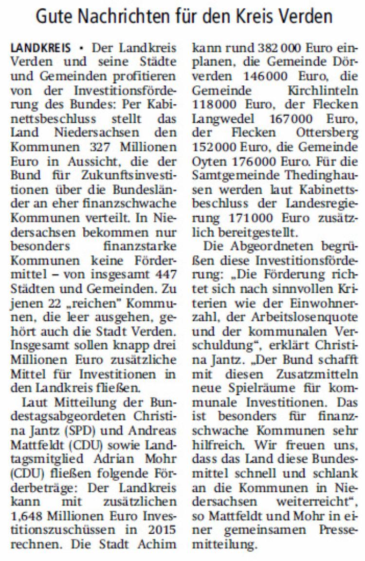 Drei Millionen Euro Investitionsförderung