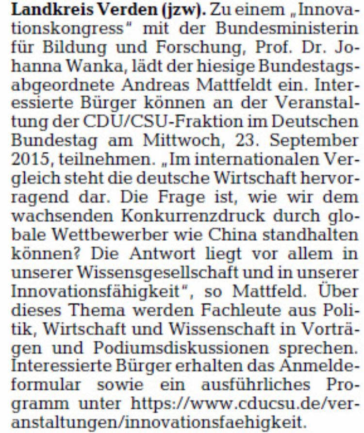 Mattfeldt lädt nach Berlin ein