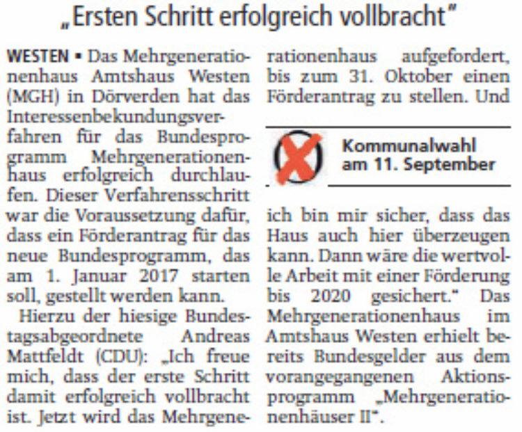"""Mattfeldt: """"MGH Westen kann Antrag stellen"""""""