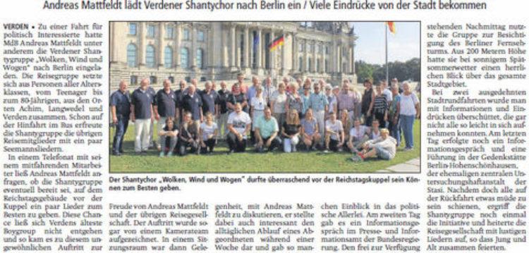 """""""Wolken, Wind und Wogen"""" singt vor der Reichstagskuppel"""