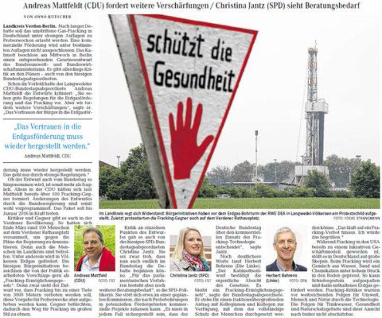 Kritik am Entwurf für Fracking-Gesetz