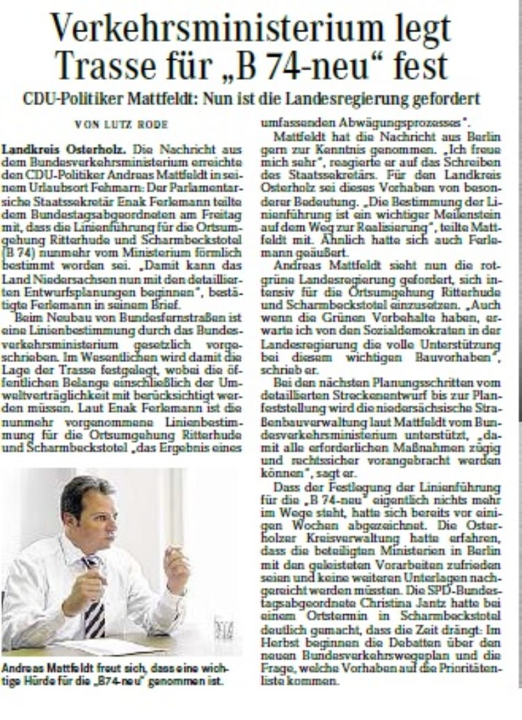 Osterholzer Kreisblatt vom 25.07.2015