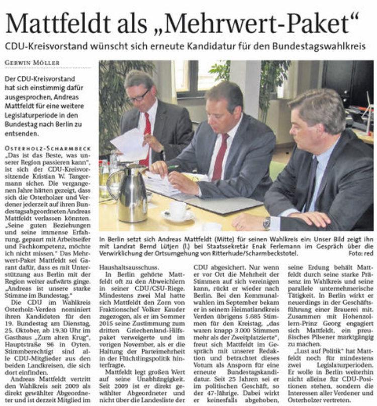 """Mattfeldt als """"Mehrwert-Paket"""""""