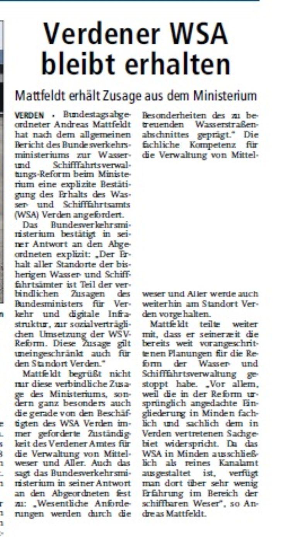 Verdener-Aller-Zeitung vom 11.10.2014