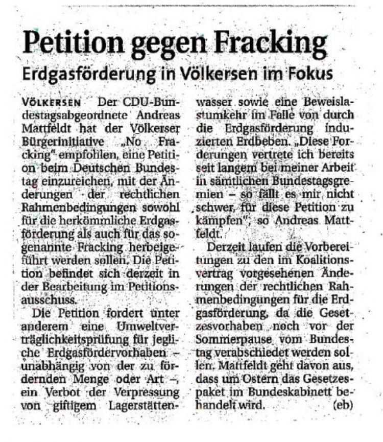 Petition gegen Fracking